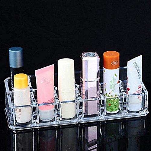 Transer® 12 Raster Slot Clear Makeup Wimperntusche Lippenstift Stifthalter | Dick Acryl Transparente Kosmetik Rack Organizer Container Sortierbox 17x6.2x4.3cm (Organisieren Storage Box Anzeige)