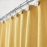 mDesign Rideau de Douche de Luxe en 65% Polyester et 35% Coton – Rideau de Douche Tissu Doux avec Motif Gaufre – Rideau Baignoire Facile à Nettoyer – Jaune Moutarde