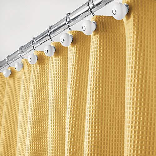 mDesign Rideau de Douche de Luxe en 65% Polyester et 35% Coton – Rideau de Douche Tissu Doux avec Motif Gaufre – Rideau Baignoire Facile à Nettoyer – Jaune Moutard