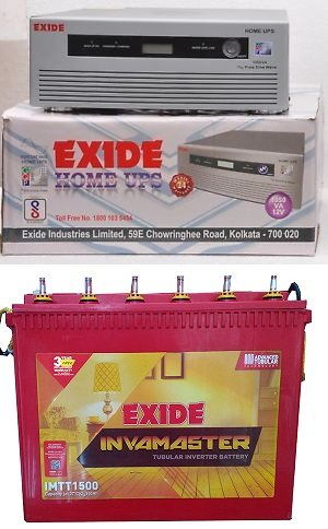 Exide Technologies 1050Va Sine Wave Ups With Inva Master 1500 150Ah Exide Tall Tubular Battery Combo