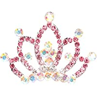FENICAL Kids Princess Crown Cystal Rhinestone Tiara Hair Comb (Rosa)