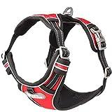 Pettom Hundegeschirr Geschirr für Hunde No Pull Powergeschirr mit Heavy Duty Griff für Hundetraining oder Walking (S, Red)