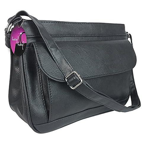 Hey Hey Handbags - Ladies Organiser Handbag with Compartments, Colour: Black