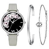 Kaifanxi Damen Uhren Quarz-Armbanduhr Saphirglas zarte Blumen Zifferblatt Design mit Geschenk Armband für Frauen Weiches Lederband