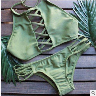 Europa Und Die Vereinigten Staaten Einfarbig Multi - Seil Überqueren Split Bikini Bikini Spa - Badeanzug Green