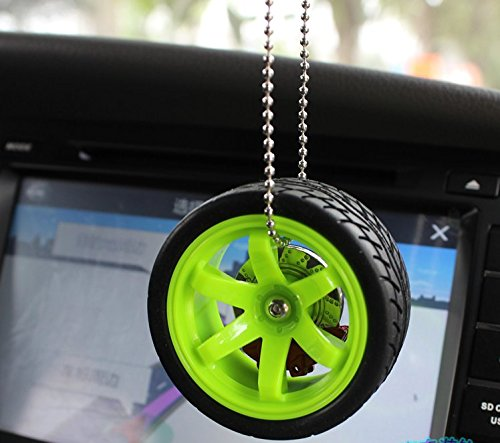 JISHUQICHEFUWU Auto Zubehör Auto Innendekoration Trend Auto Rearview Spiegel Anhänger grüne Rad Nabe mit Bremssättel kleinen Anhänger