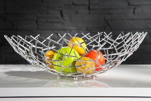 Casa Padrino Designer Obstschale Structure silber aus silbernem Metall Höhe 15 cm, Durchmesser 45 cm - Schale, Obstkorb, Deko Schale