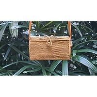 Rechteckige Rattan-Tasche; Rectangular woven rattan bag
