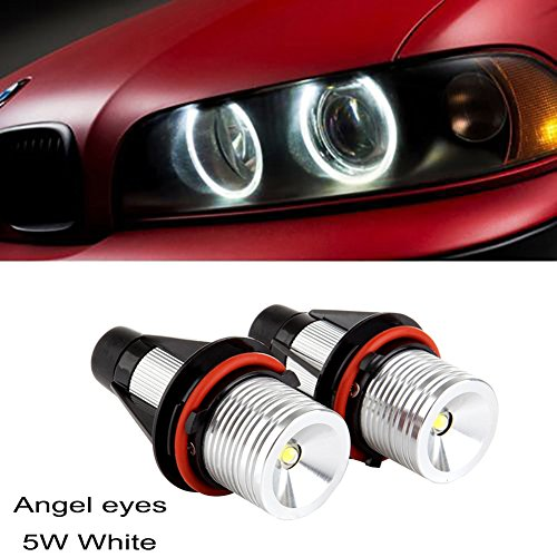 ricoy 2x 5W für E39E53E60E61E64E65E66E87X3X5LED Angel Eye Halo Ring Marker Seite Licht, Weiß LED Leuchtmittel (2Stück) (Nissan Halo-scheinwerfer)