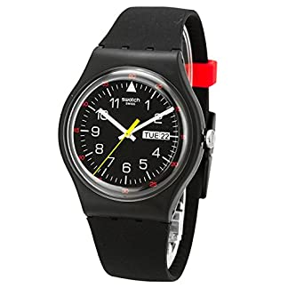 Swatch yokorace negro Dial Negro Goma Mens Reloj suob724