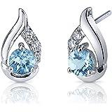 Revoni Radiant Teardrop 1.00 Carats Swiss Blue Topaz Round Cut CZ Diamond Earrings in Sterling Silver