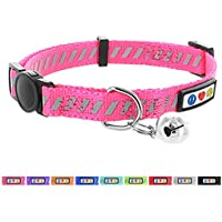 Pawtitas Collar de Gato/Mascota trafico reflectivo con Hebilla de Seguridad y Campana Color Rosa