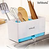 Velveeta Large Sink Dish Drainer Drying Rack Sink Organizer Stand with Soap, Cutlery & Sponge Holder Organizer for Kitchen Tool (Color May Very)