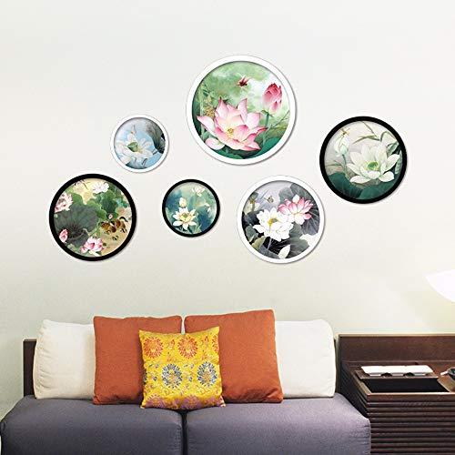 Runinstickers Wandaufkleber Traditionelle Chinesische Bunte Lotus Platten Wand Aufkleber Abnehmbare DIY Wall Decals Für Wohnzimmer Haus Dekoration -