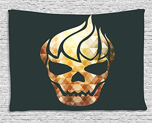 Modern Tapestry, Gothic Skull with Fractal Effects in Fire Evil Halloween Concept, Wall Hanging for Bedroom Living Room Dorm, 80 W X 60 L Inches, Yellow Light Caramel Dark Grey (Sky Room Nyc Halloween)