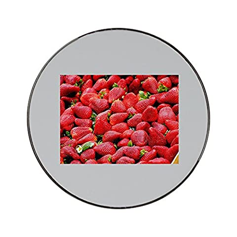 Metal round fridge magnet with Strawberries, Red, Fruit
