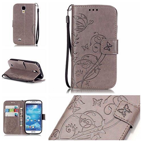 Chreey Coque Samsung Galaxy S4 / GT-i9500 (5 pouces) (Solid color - papillon - impression),PU Cuir Portefeuille Etui Housse Case Cover ,carte de crédit Fentes pour ,idéal pour protéger votre téléphone