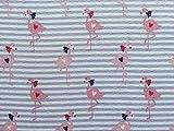 1 m Jersey Flamingos Herzen Streifen lila rosa rot blau
