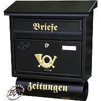 Cassetta delle lettere, qualità premium, zincato, verniciato a polvere F/AP grande in nero antracite scuro giornale scomparto giornali Post antico Mailbox scudo