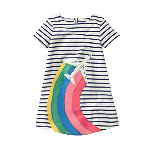 VIKITA Mädchen Sommer Streifen Kurzarm Baumwolle T-Shirt Kleid JM6785 6T