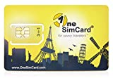 OneSimCard International Global Roaming SIM Card for use in Over 200 Countries with £5 Credit – Voice, Text and Mobile Data as low as £0.01 per MB. 3 in 1 SIM Compatible with All Unlocked GSM Phones