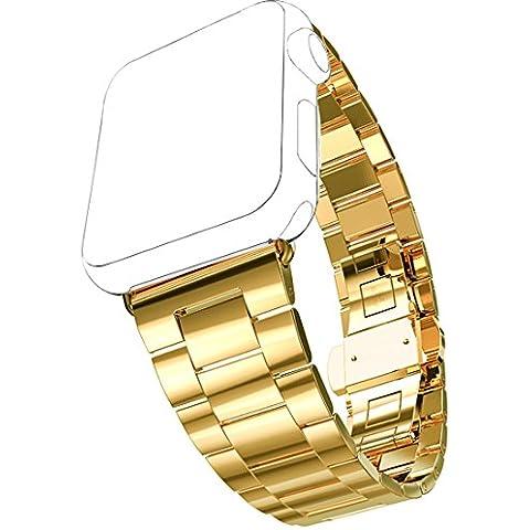 Cinturino Apple Watch, Pugo TOP® 0,2 cm ultra sottile in acciaio inossidabile Grand Series Slim adattarsi acciaio cinturino partita con cassa dell'orologio placcato Apple per Apple watch, cinturino di Apple in stile classico (Oro 42 mm)