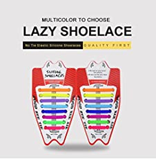 KetKraft Kids No Tie Shoelaces, Tieless Elastic, Silicone Waterproof Rubber Flat Running Shoe Laces For Sneakers Board, Casual Shoes And Boots - One Size Fits All - Perfect for Sports, Sneakers and Formal Shoes Gray Colour