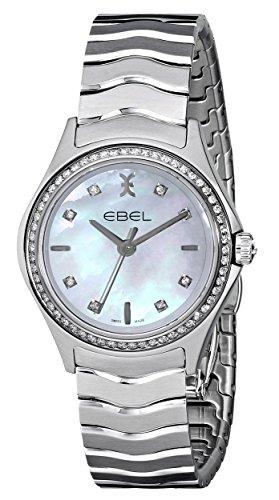 Ebel 1216194Wave de la mujer cuarzo analógico Swiss Plateado Reloj