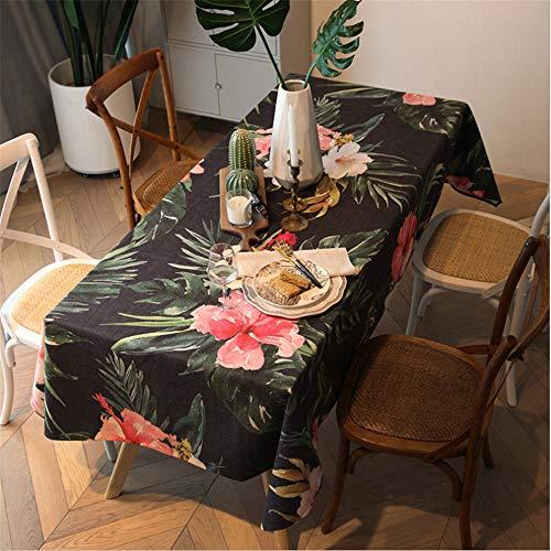 hhlwl Rechteckige Tischdecke Aus Baumwolle Und Leinen Rote Blumen Digitaldruck Tischdecke Couchtisch TV-Arbeitstuch, 80 X 150 cm