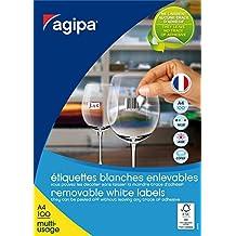 AGIPA Lot de 3 Btes 6500 étiquette 38x21,2 mm (65 x 100F A4) Multi-usage Coin Droit Enlevable Blanc