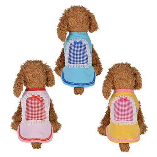 strimusimak Pet Hunde Puppy Summer Cotton Cute Maid Vest Shirts Clothes Outfits Kostüme-Yellow XS