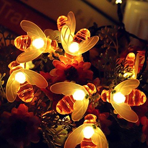 (Berocia Bienen LED Lichterkette Solar Außen Bunt mit Batterie 30 LED String Lichter Wasserdichtes im Freien Innen für Schlafzimmer-Haus-Garten-Weihnachten Feiertags-Dekoration (Bienen Warmweiss))