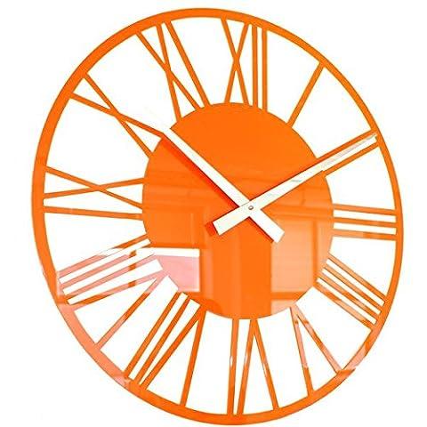 Roco Verre Acrylic Gloss Skeleton Roman Wall Clock (ORANGE 56cm Dia 22