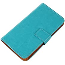 Gukas Flip PU Billetera Design Funda De Carcasa Cartera De Cuero Case Cover Piel Para BQ AQUARIS 5.7 / FNAC PHABLET 5.7 (Azul)