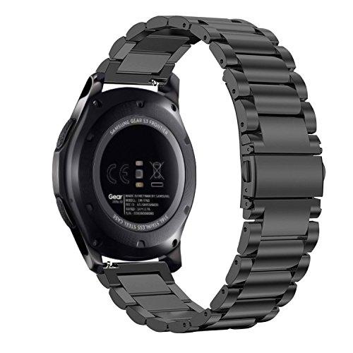 Fintie Cinturino Compatibile con Galaxy Watch 46mm/Gear S3 Frontier/Gear S3 Classic/Huawei Watch 2 Classic/Moto 360 2ª Gen - 22mm Cinturini di ricambio in Acciaio Inossidabile Banda, Nero