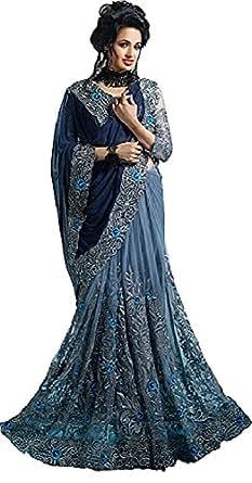 Anubhuti Sarees Women's Georgette & Net Saree With Blouse Piece (Navy Blue)