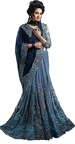 Anubhuti Sarees Women\'s Georgette & Net Saree With Blouse Piece (Navy Blue)