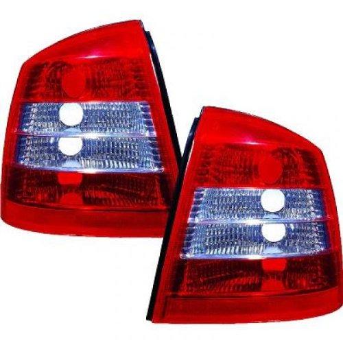 Preisvergleich Produktbild in.pro. 1805596 HD Rückleuchten Opel Astra G , Baujahr: 97-04, klarglas, rot-weiß