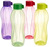 #7: Tupperware Aquasafe Water Bottle Set, 1 Litre, Set of 4, Multicolor