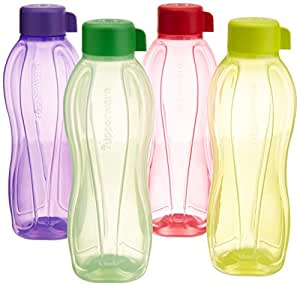 Tupperware Aquasafe Water Bottle Set, 1 Litre, Set of 4, Multicolor