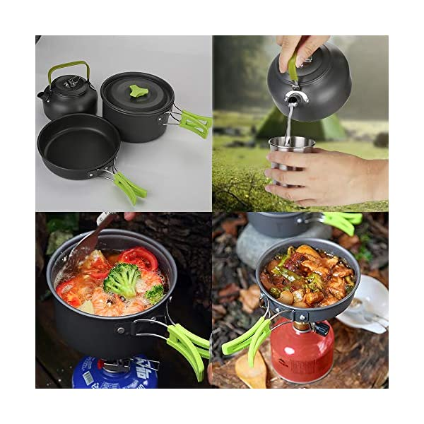 Aitsite Camping Cookware Kit Outdoor Aluminum Lightweight Camping Pot Pan Cooking Set for Camping Hiking 7