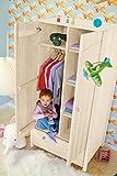 BioKinder 22205 Luca Schrank Kinder-Kleiderschrank aus Massivholz Kiefer weiß lasiert 165 x 80 x 60 cm