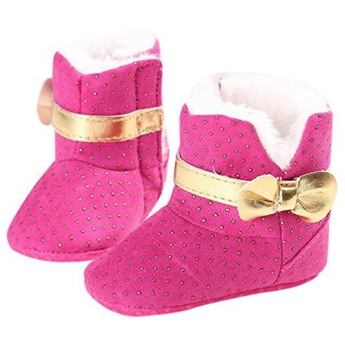 kingko® Bébé Tout Infant filles Bottes de neige molle Sole chaussures prewalker Berceau (11, blanc) rose chaud