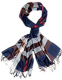Kandharis klassicher Damenschal Schal Stola in Karo-Muster kariert mit fransen aus Viskose Baumwolle