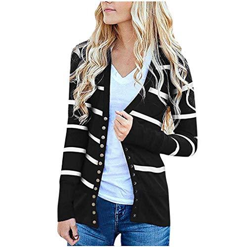 ➤Refill➤ Damen Herbst Strickjacke Casual Gestreift Cardigan Bunt Outwear Lose Strickpullover Langarm Coat mit Knöpfen Sweater Strick Warme Winterjacke