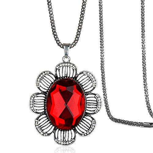 Isijie Jewelry Elegant Retro Stil Blume Form Ruby Strass Kristall Anhänger Halskette für - Kostüm Kinder Eingefroren
