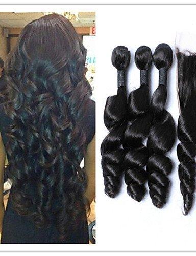 IJKIU jff/4/lot Malaysisches Virgin Haar lose Wave Echthaar Weave Bündel mit Top Lace Schließung unverarbeitet, kein Kabelsalat, 28 28 28 & 26-Middle Part (Haar-schließung Malaysische)