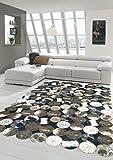 Merinos Kuhfell Teppich Patchwork in Braun Schwarz Creme Größe 80x150 cm