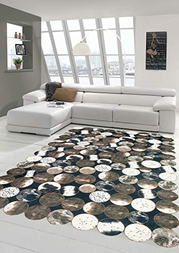 Merinos Kuhfell Teppich Patchwork in Braun Schwarz Creme Größe 160x230 cm