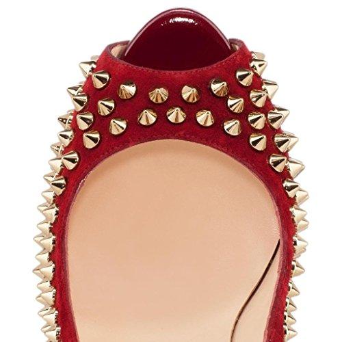 Onlymaker Damenschuhe High Heels Peep Toe Pumps mit Nietendecoration Rot
